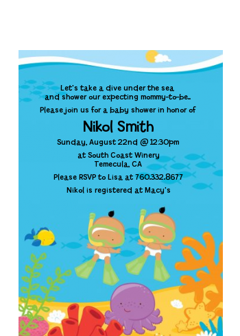 Under the Sea Hispanic Baby Twins Snorkeling - Baby Shower Petite Invitations