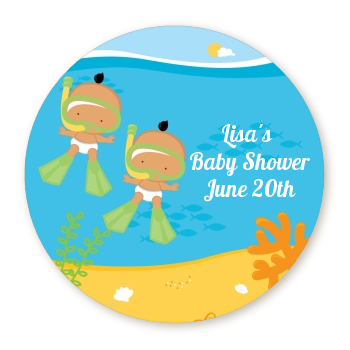 Under the Sea Hispanic Baby Twins Snorkeling - Personalized Baby Shower Table Confetti