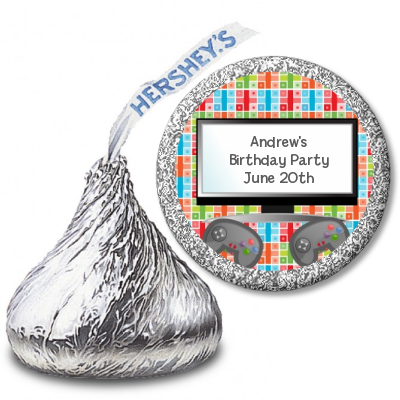 Video Game Time - Hershey Kiss Birthday Party Sticker Labels
