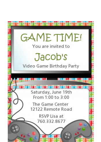 Video Game Time - Birthday Party Petite Invitations