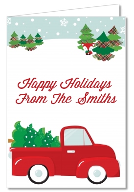Christmas Thank You Cards Vintage Red Truck With Tree Thank You Notes