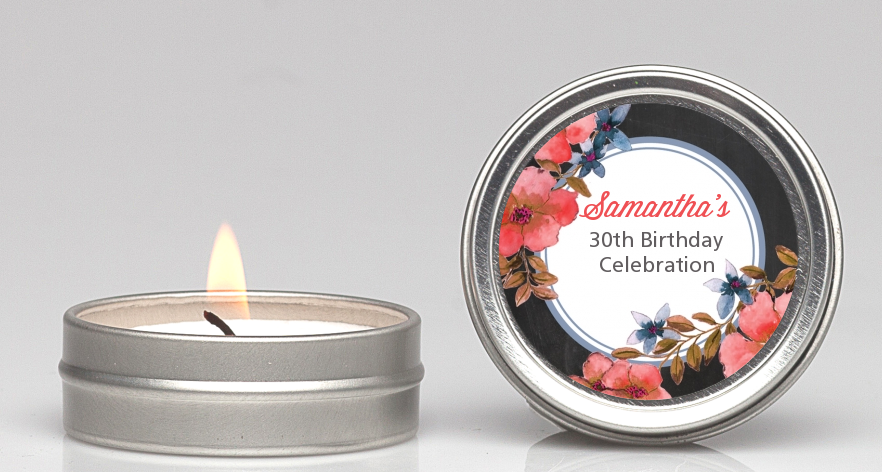 Watercolor Floral - Birthday Party Candle Favors Option 1