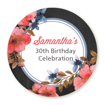 Watercolor Floral - Round Personalized Birthday Party Sticker Labels Option 1
