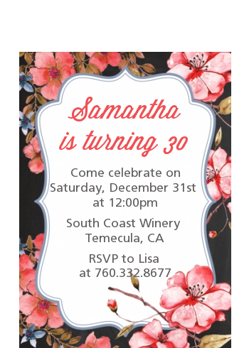 Watercolor Floral - Birthday Party Petite Invitations