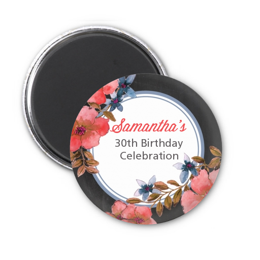 Watercolor Floral - Personalized Birthday Party Magnet Favors Option 1