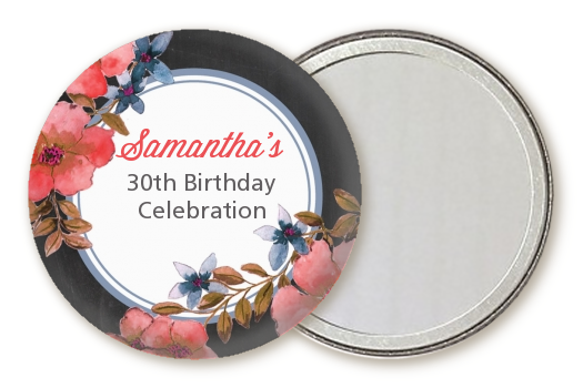 Watercolor Floral - Personalized Birthday Party Pocket Mirror Favors Option 1