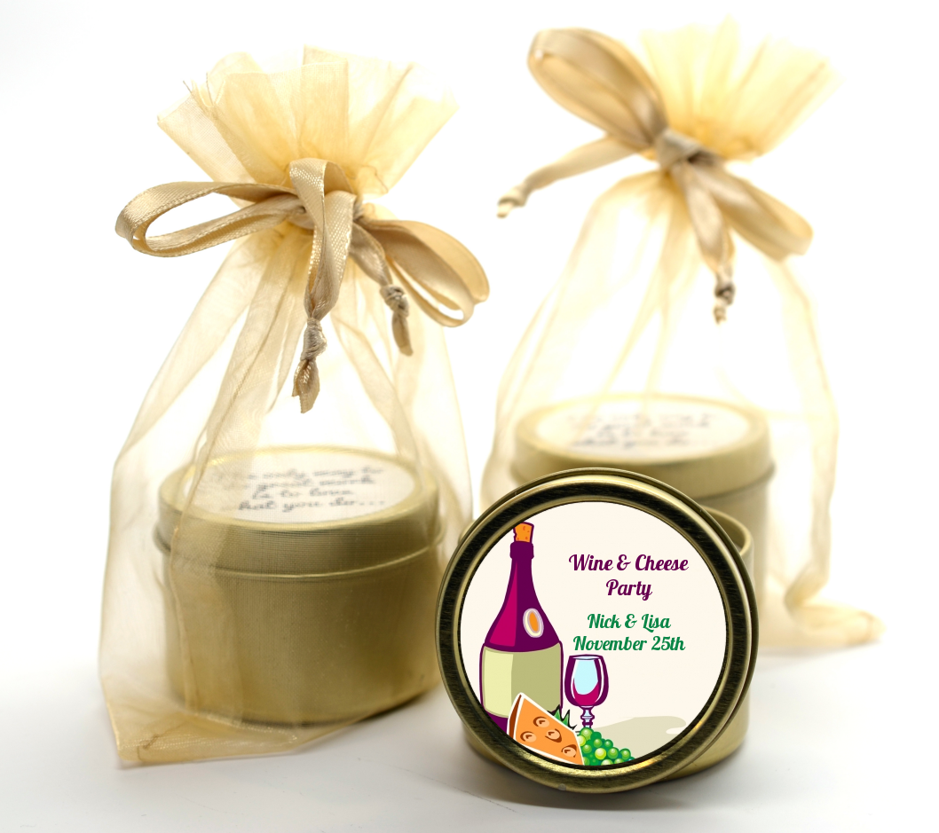 wine cheese bridal shower gold tin candle favors