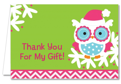 winter owl christmas thank you cards