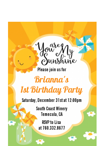 You Are My Sunshine - Birthday Party Petite Invitations