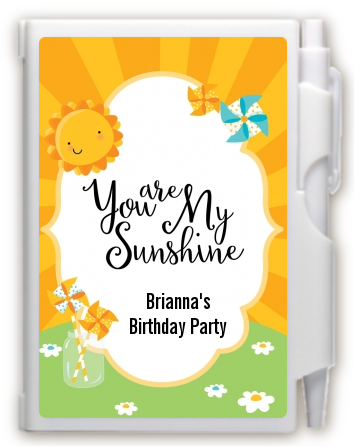 You Are My Sunshine - Birthday Party Personalized Notebook Favor