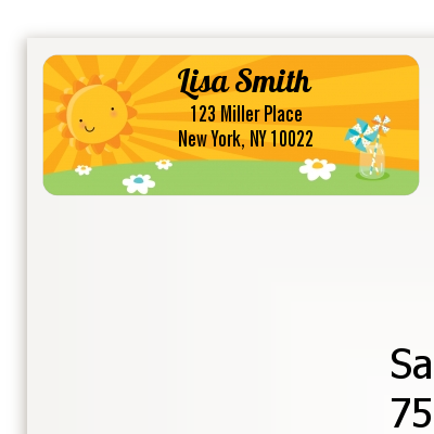 You Are My Sunshine - Birthday Party Return Address Labels