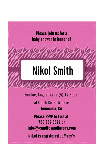 Zebra Print Baby Pink - Baby Shower Petite Invitations