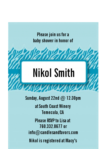 Zebra Print Blue - Baby Shower Petite Invitations