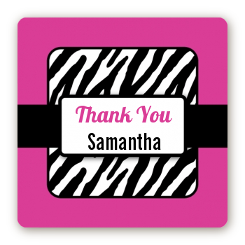 Zebra Print Pink & Black - Square Personalized Birthday Party Sticker Labels
