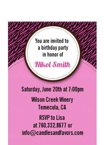 Zebra Print Pink & Black - Birthday Party Petite Invitations