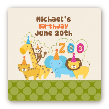 Zoo Crew - Square Personalized Birthday Party Sticker Labels