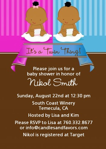 Twin Babies 1 Boy And 1 Girl African American Baby Shower