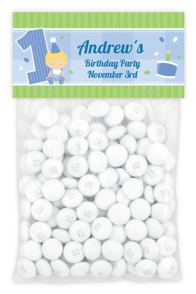 1st Birthday Boy - Custom Birthday Party Treat Bag Topper