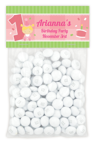 1st Birthday Girl - Custom Birthday Party Treat Bag Topper