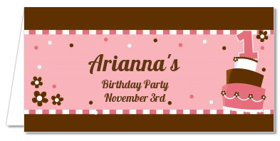1st Birthday Topsy Turvy Pink Cake - Personalized Birthday Party Place Cards