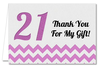 birthday party thank you cards  st birthday chevron pattern, Birthday card