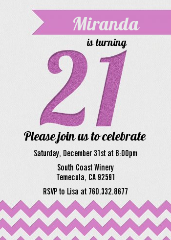 21st Birthday Chevron Pattern - Birthday Party Invitations Pink