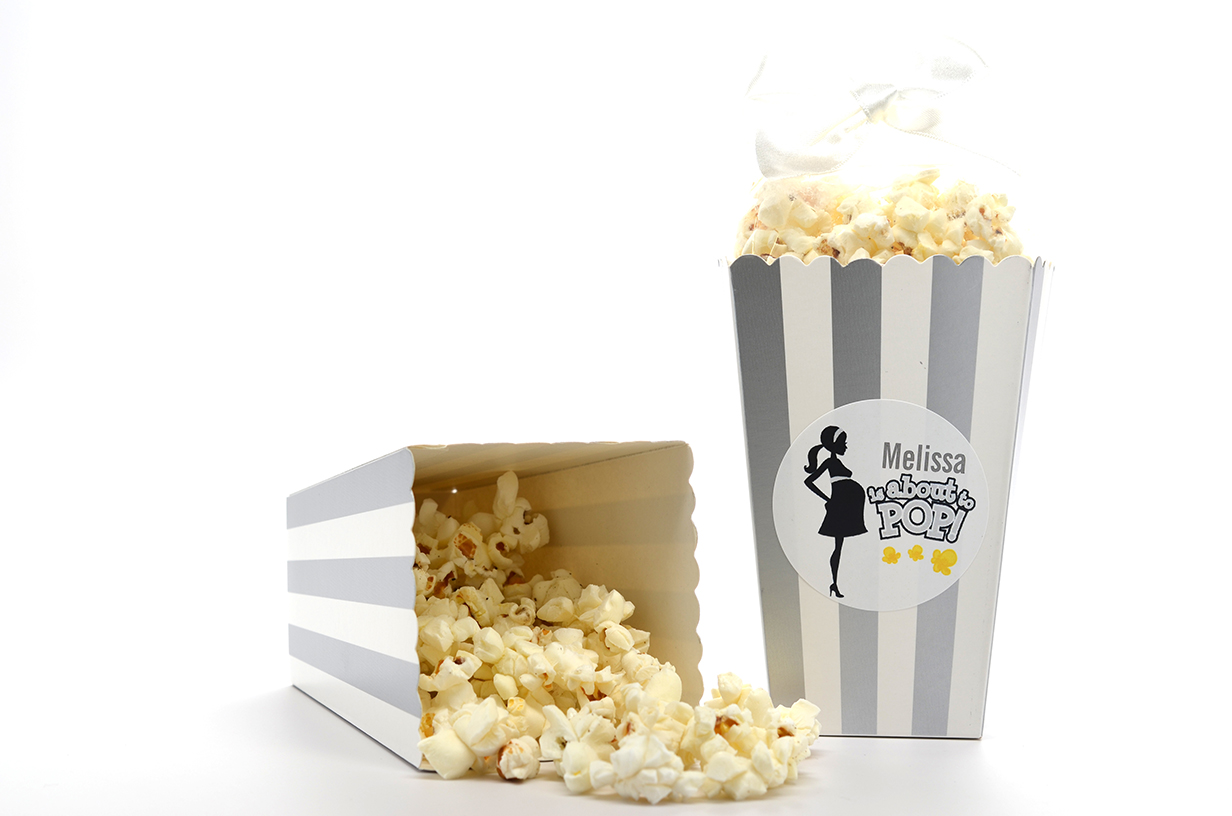 to pop mommy grey personalized baby shower popcorn boxes set of 12