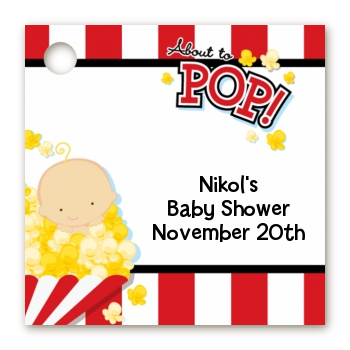 About To Pop ® - Personalized Baby Shower Card Stock Favor Tags Caucasian