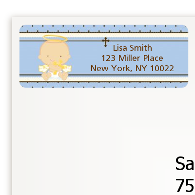 Angel Baby Boy Caucasian - Baptism / Christening Return Address Labels