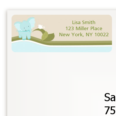 Elephant Baby Blue - Baby Shower Return Address Labels