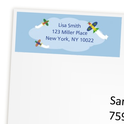 Airplane - Birthday Party Return Address Labels
