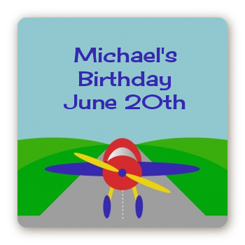 Airplane - Square Personalized Birthday Party Sticker Labels