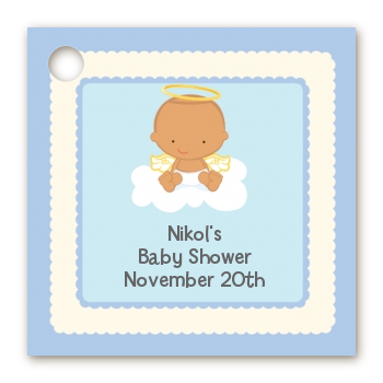 Angel in the Cloud Boy Hispanic - Personalized Baby Shower Card Stock Favor Tags
