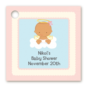 Angel in the Cloud Girl Hispanic - Personalized Baby Shower Card Stock Favor Tags