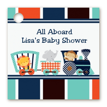 Animal Train - Personalized Baby Shower Card Stock Favor Tags