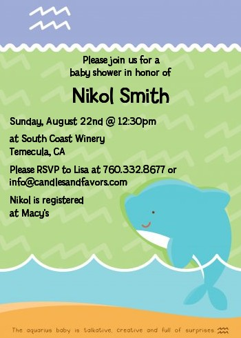 Dolphin | Aquarius Horoscope - Baby Shower Invitations