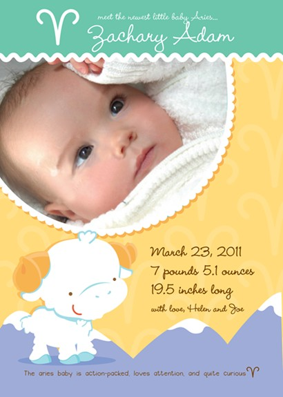 Ram | Aries Horoscope - Birth Announcement Photo Card