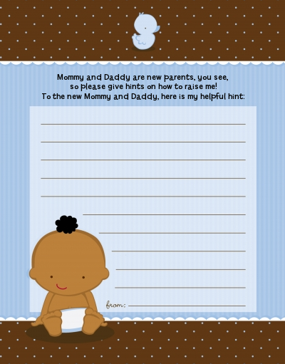 baby boy african american baby shower notes of advice