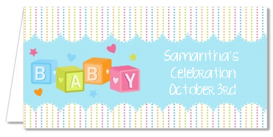 Baby Blocks Blue - Personalized Baby Shower Place Cards