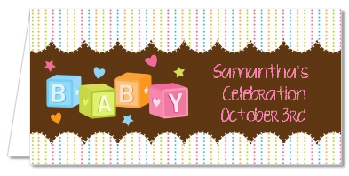 Baby Blocks - Personalized Baby Shower Place Cards