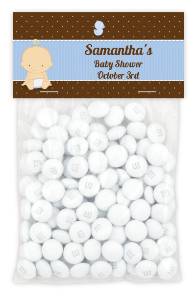 Baby Boy Caucasian - Custom Baby Shower Treat Bag Topper