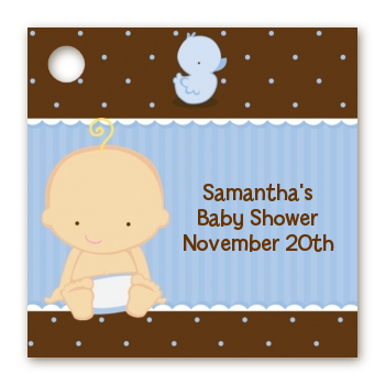 Baby Boy Caucasian - Personalized Baby Shower Card Stock Favor Tags
