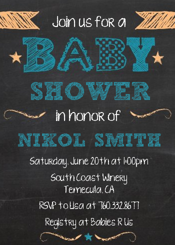 Baby Boy Chalk Inspired - Baby Shower Invitations