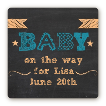 Baby Boy Chalk Inspired - Square Personalized Baby Shower Sticker Labels