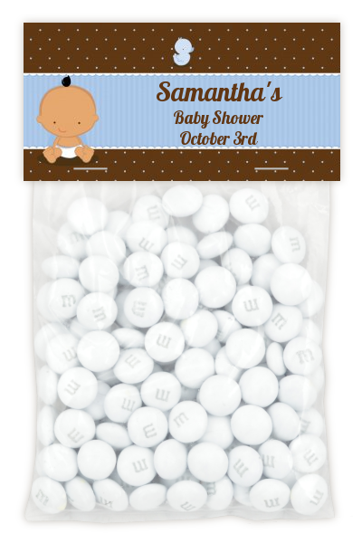 Baby Boy Hispanic - Custom Baby Shower Treat Bag Topper