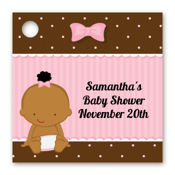 Baby Girl African American - Personalized Baby Shower Card Stock Favor Tags