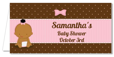 Baby Girl African American - Personalized Baby Shower Place Cards