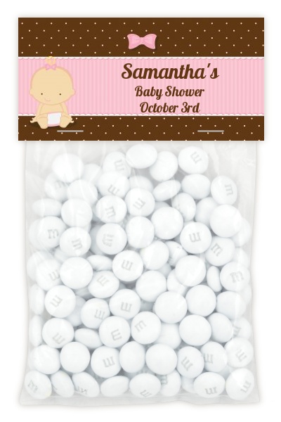 Baby Girl Caucasian - Custom Baby Shower Treat Bag Topper