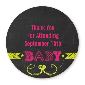 Baby Girl Chalk Inspired - Round Personalized Baby Shower Sticker Labels