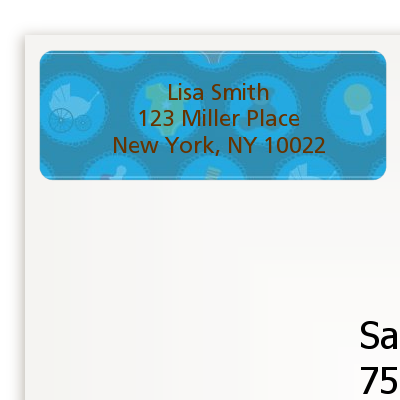Baby Icons Blue - Baby Shower Return Address Labels